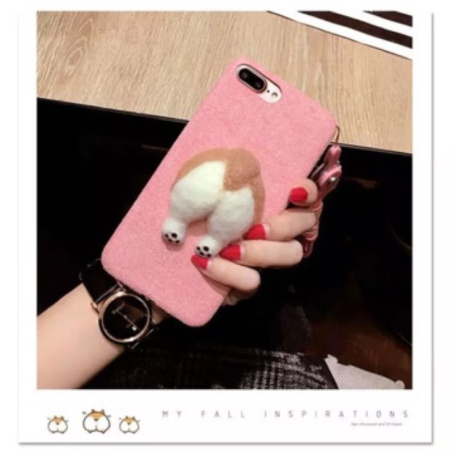 Fluffy Corgi Butt Case for iPhone 7+ (pink)