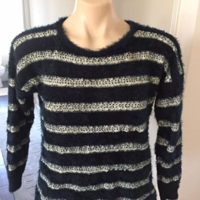 Fluffy Winter Ladies Jumper Sweater Top Size 8 10 12