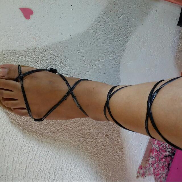 Gladiator Black Flats, Size 8