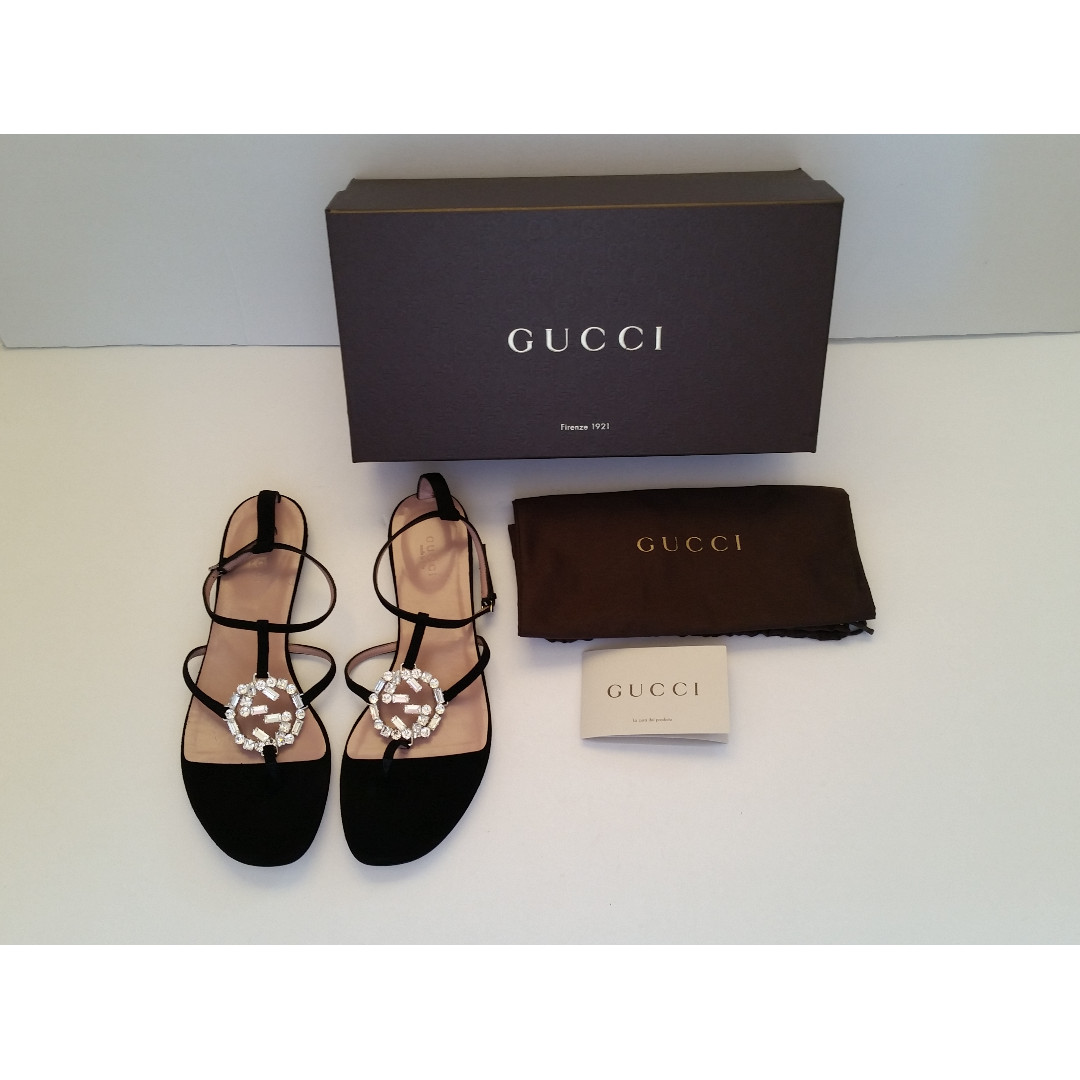 5e28dd7d712 GUCCI  GG  Crystal Black Suede Leather Flat Sandal (BN)