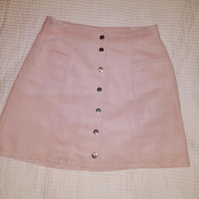 H&M Pink Suede Skirt