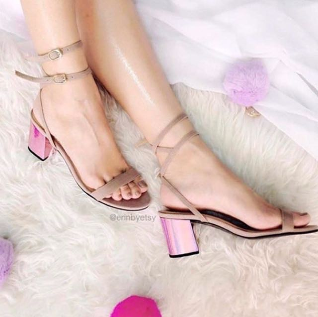 Holographic Midheels (nude/pink)