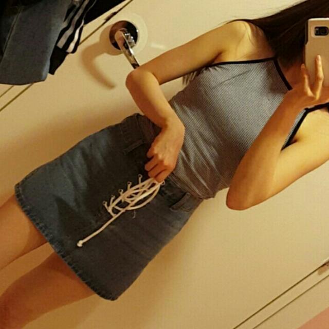 Lace Up Denim Skirt ❤
