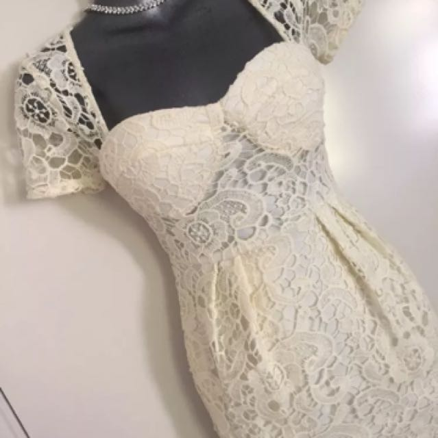 Ladies Bustier Wiggle Lace Wedding Work Yellow Dress Size 6 Xs