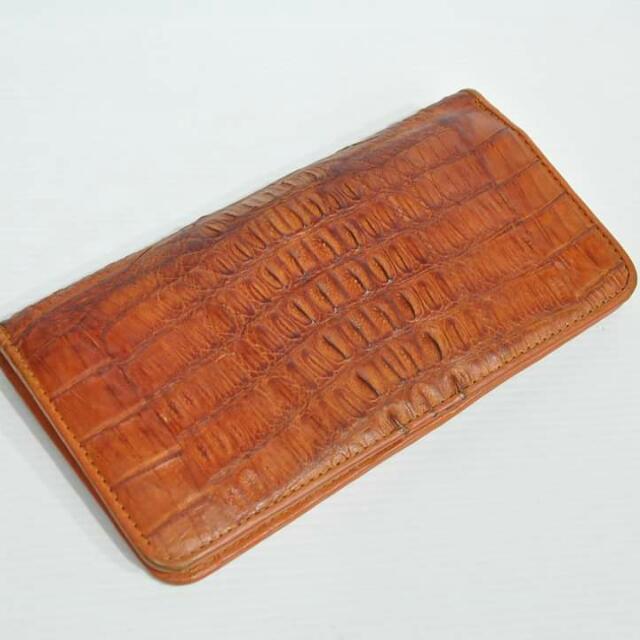 Light Brown Genuine Crocodile Long Wallet