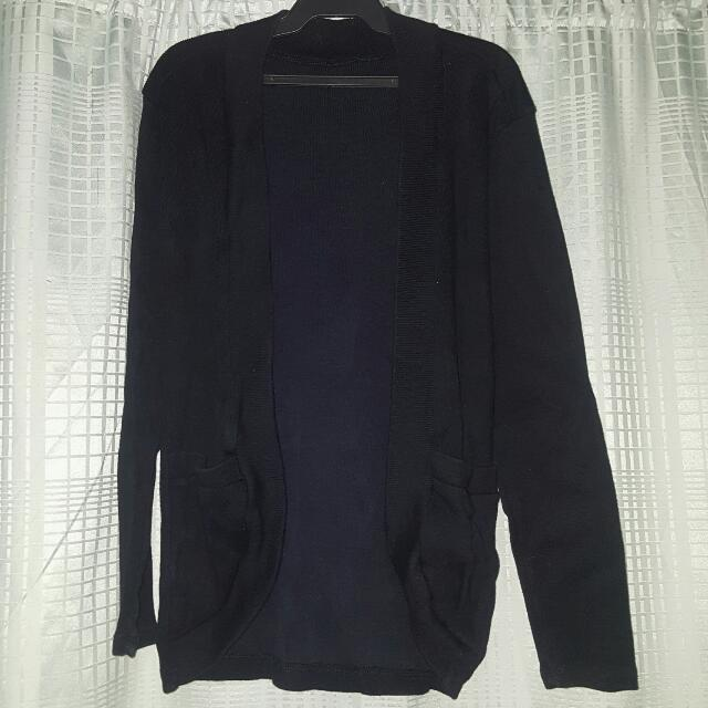 Long Black Cardigan with Pockets