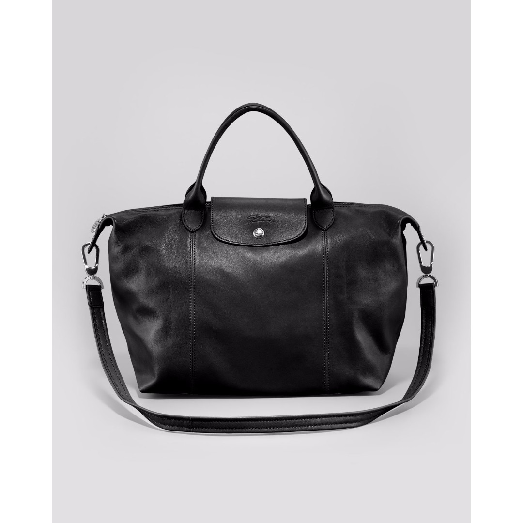 Longchamp Le Pliage Cuir Small Black Bag (New, Genuine and On Hand for Shipping)