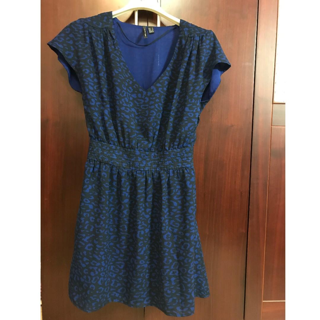 專櫃品牌-MANGO雪紡寶藍色雲豹設計款小洋裝