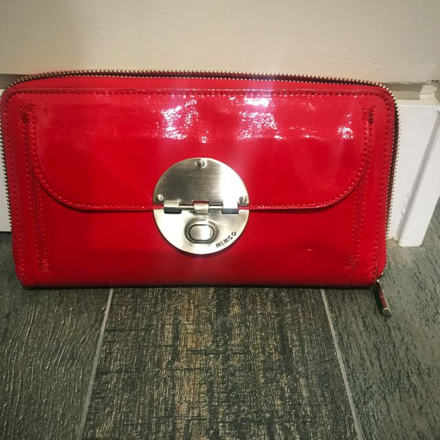 Mimco Patent Red Leather Travel Wallet