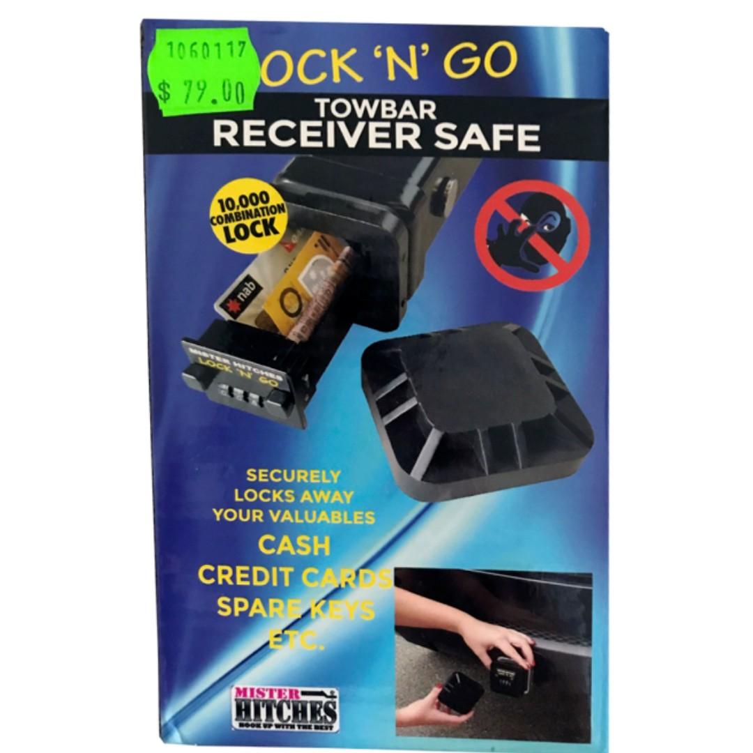 NEW LOCK 'N' GO TOWBAR HITCH RECEIVER SAFE LOCK BY MASTER LOCK Beach Hiking Gym