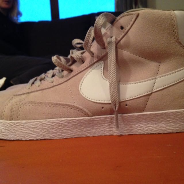 Nike Suede Blazer Trainers Tan And White