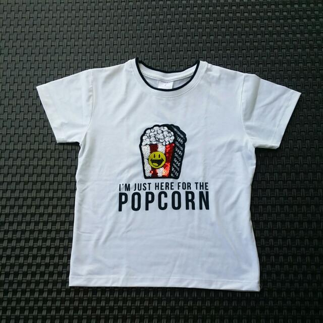 Patched White T- Shirt / Semi Crop Top