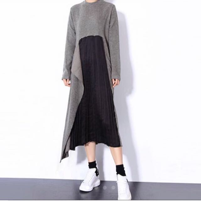 Pleated Sweater Maxi