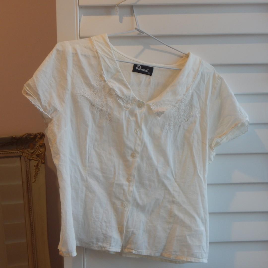 Revival White Cropped White Blouse Size 12
