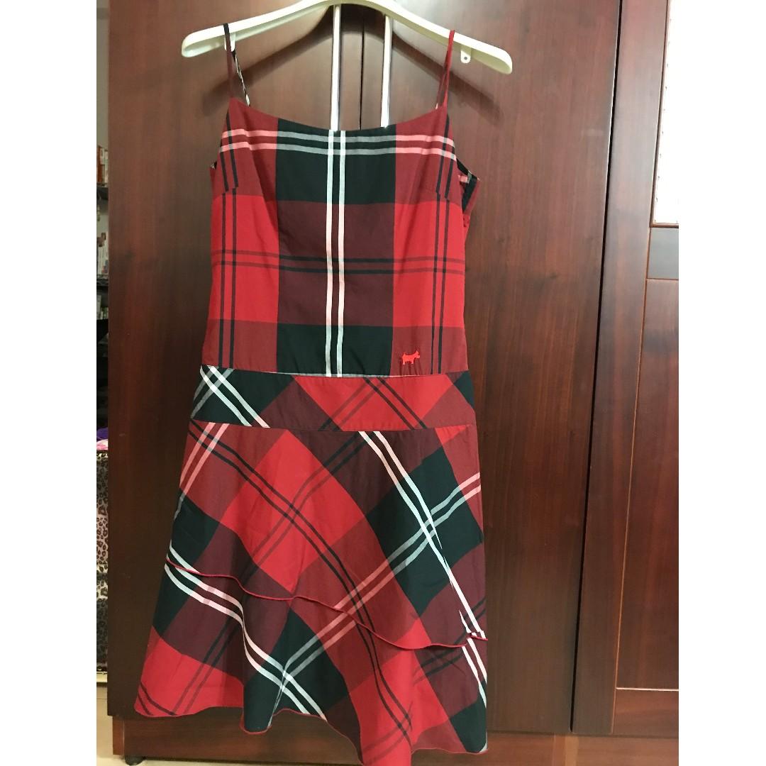 專櫃品牌-SCOTTISH HOUSE 經典紅黑格蛋糕裙洋裝