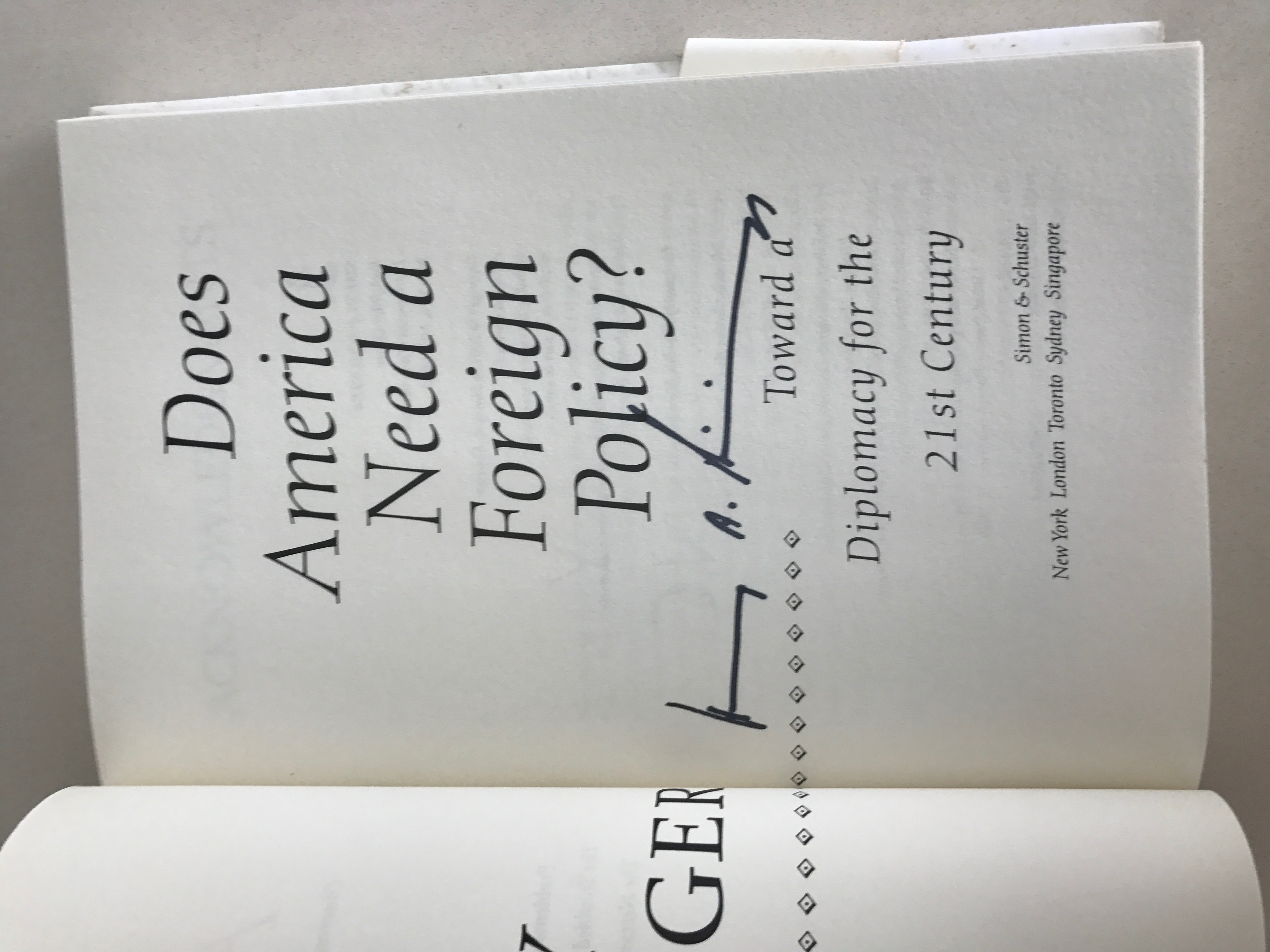 Signed by Henry Kissinger, his book