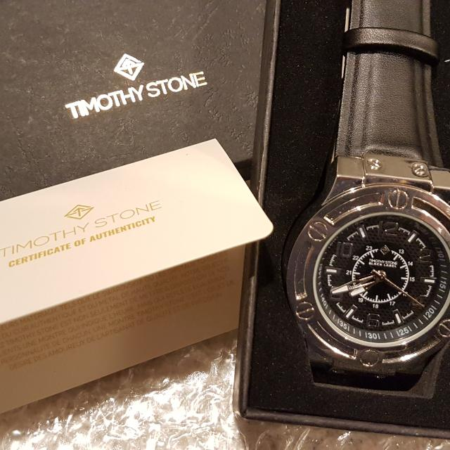 Timothy Stone Black Leather Strap Watch