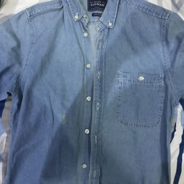 Topman Denim Short Sleeve Polo Shirt Button down