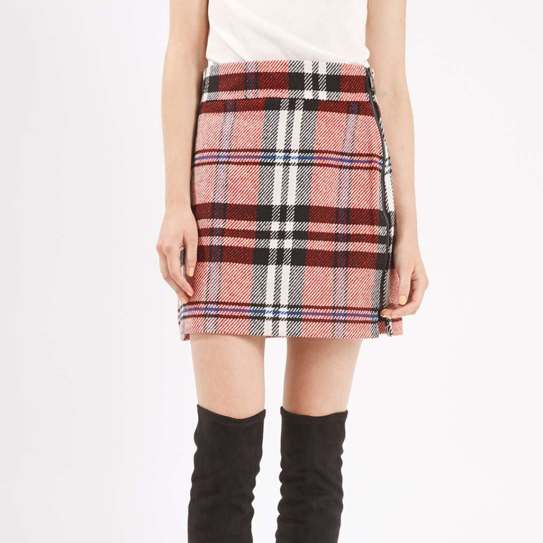 TopShop Checked Twill A-Line Highwaisted Skirt