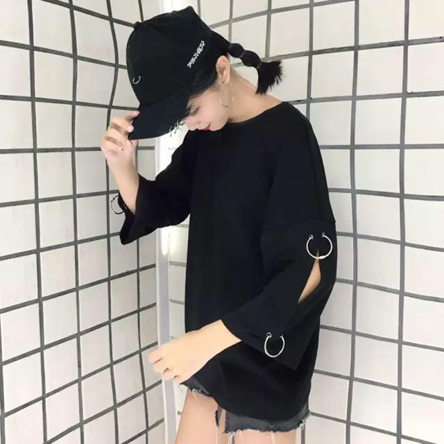追加款🎀夏季女裝韓國ulzzang個性袖口破洞圓環短袖T恤女原宿學生寬鬆上衣