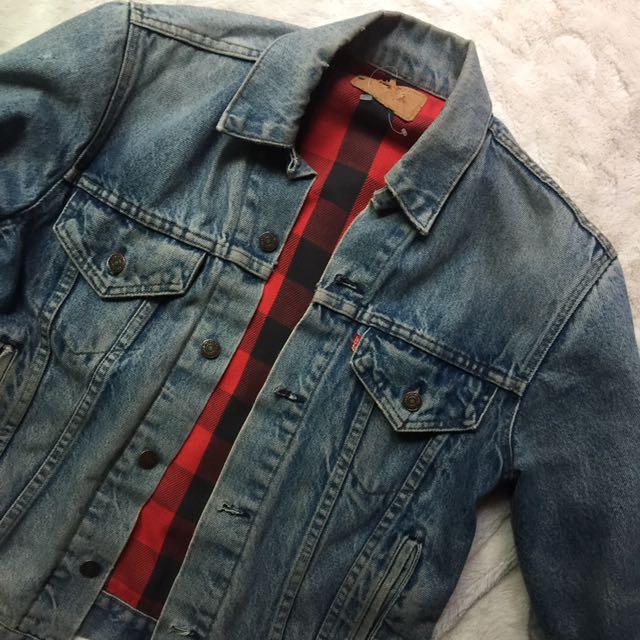 Vintage Levi's Denim Jacket With Plaid Lining