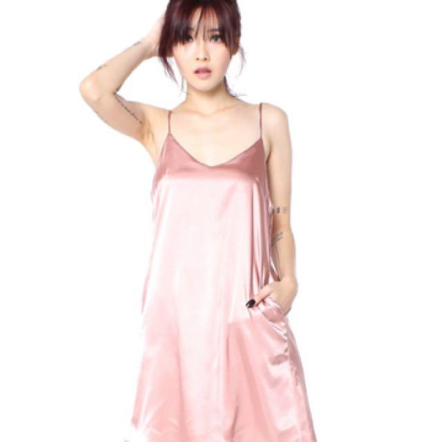 YHF - Slip In Satin Dress In Pink