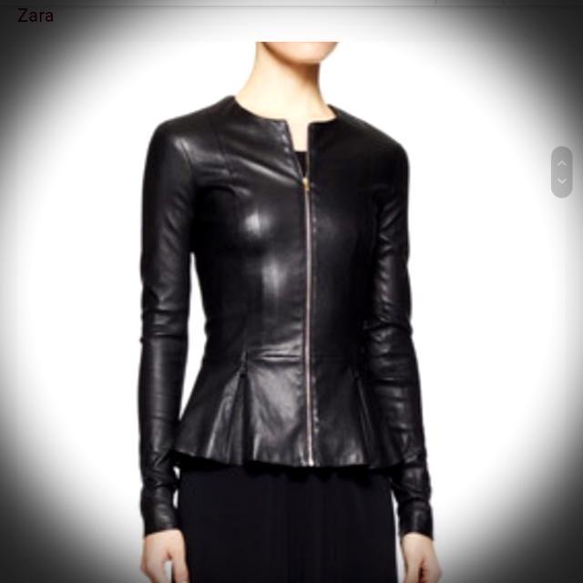ZARA- Faux Leather Peplum Style Jacket
