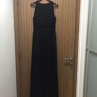 Sacoor Long Black Pleats Dress (M)