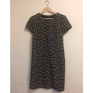 Short sleeve Black With White Pattern Mid Dress