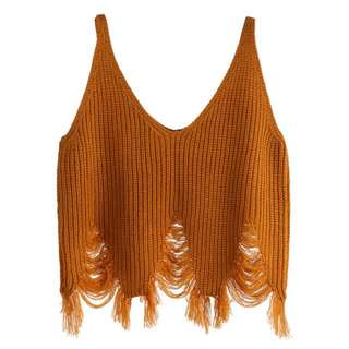 Mustard Distressed Knitted Cami
