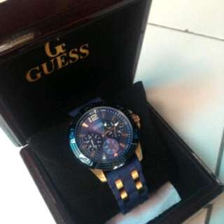 Guess Blue Analog-Chronograph Round Watch For Men W0366G4