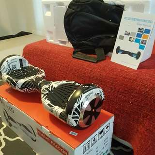 New! Electric Hover Board (White Graphics) LED + Bluetooth