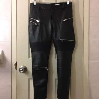 Zara Leather Biker Trousers