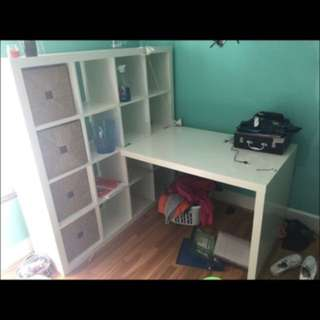 White IKEA Cubby/Organizer And Desk