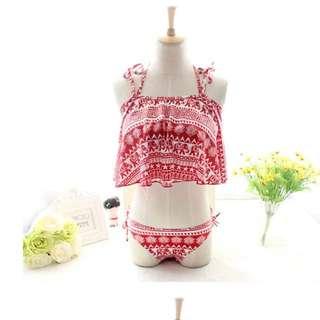圖騰 民族風 三件式 平口 綁帶  罩衫 比基尼