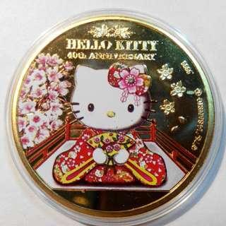 紐埃Kitty鍍金幣,金幣,錢幣,紀念幣,紀念章,收藏錢幣,幣~紐埃鍍金幣(純銅鍍金)(背面為伊莉沙白女王頭像)(限量珍藏版)