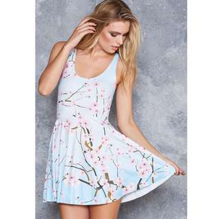 Black Milk - Cherry Blossom Blue Reversible Skater Dress - Size Large with Long Torso
