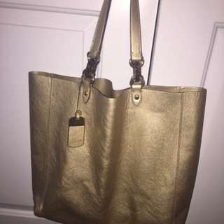 Ralph Lauren Gold Lame Tote Large