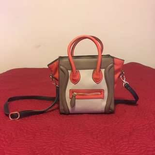 Celine Style Orange Cross Body Bag