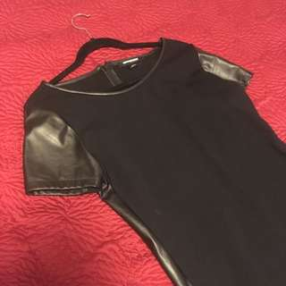 Black Stretch Dress With Pleather Sides