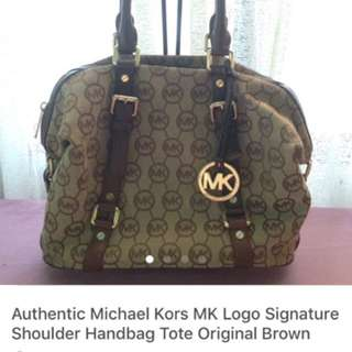 On Sale! Authentic Michael Kors MK Logo Signature Hand Bag Tote Brown Original