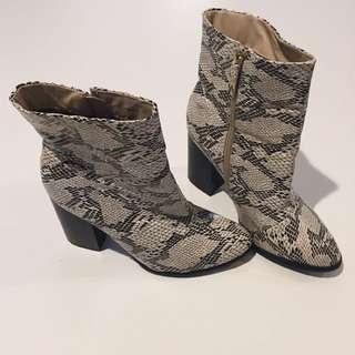 Snakeskin Heeled Boots