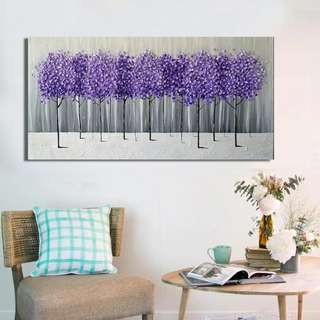 Lavender Trees Handpainted Canvas Oil Painting