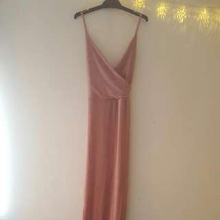 Velvet Pink/peach Long Party Dress