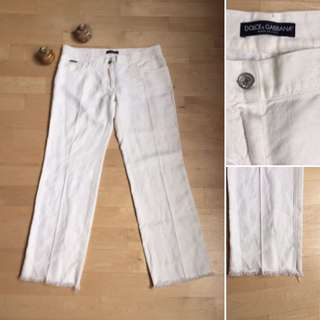 Dolce And Gabanna Linen White Pants Sz 44 Or 8