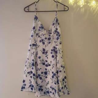 White Dress With Floral Blue Flowers