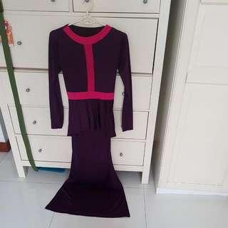 One Suit .. Long Kurung Dress .free Size  Purple Colour 😊