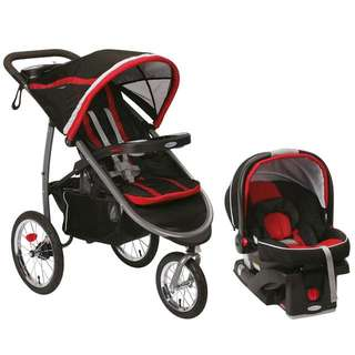 Graco Fast Action Fold Jogger Travel System - Stroller and Car Seat Combo - Marathon Red
