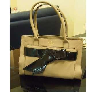 100%正品真品正貨 75% 新 KATE SPADE LEATHER handbag bag 手袋全皮灰杏蝴蝶結單肩包 側背袋