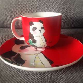 NEW T2 Panda Cup and Plate Gift Set